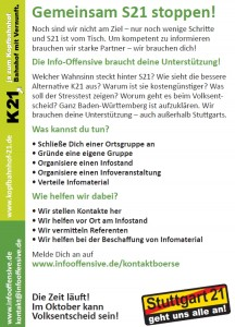 Flyer: InfoOffensive Mobilisierung
