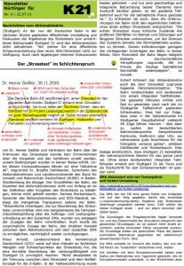 Newsletter Nürtinger für K21