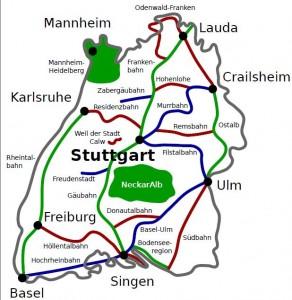 Bahnstrecken in Baden-Württemberg