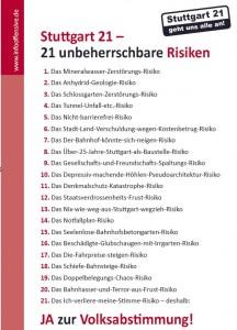 Stuttgart 21 –  21 unbeherrschbare Risiken